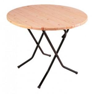 Стол складной круглый Ривьера на рейке сосны