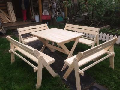 Комплект складной мебели  со скамейками на 8-10 человек